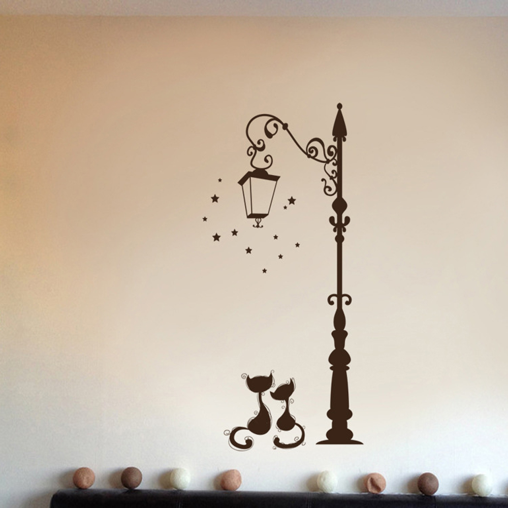 Cute Cat Fashion Wall Stickers Funny Cat Stickers Living Room Decor Tv