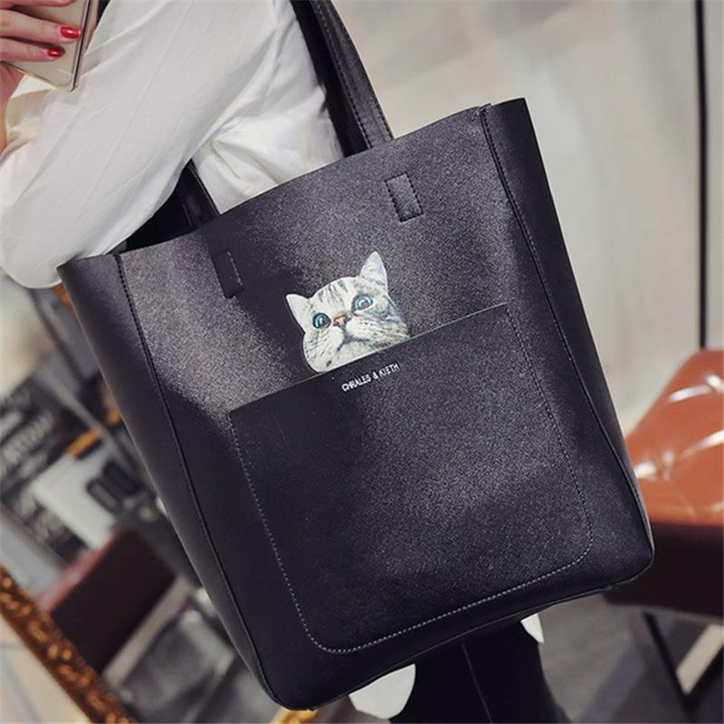 Cute Cat Print Collection Big Storage Handbag 38/36*30*11CM