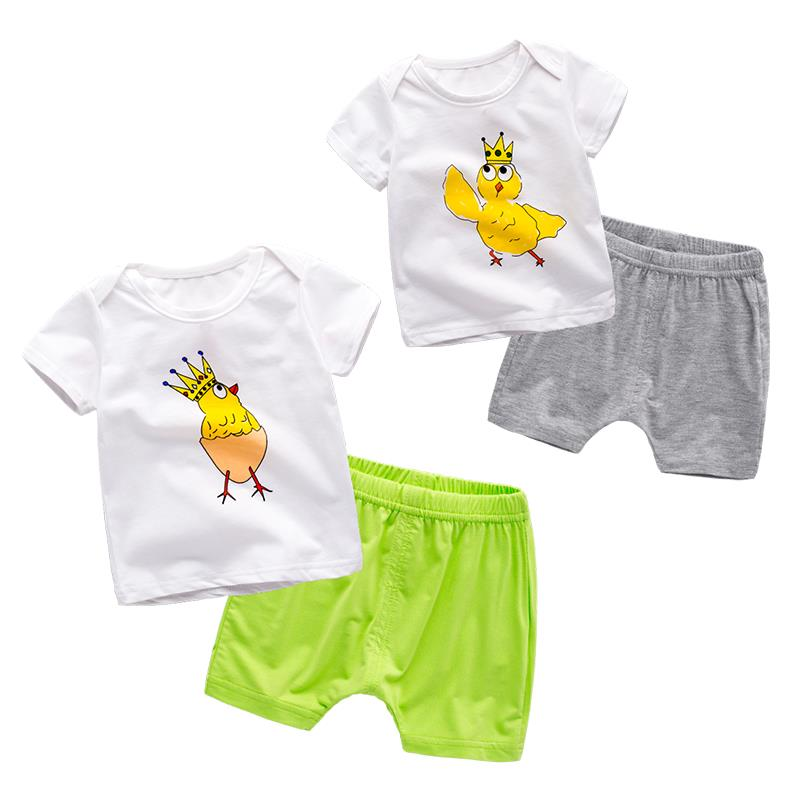 Cute Chick Pattern Short Sleeve Shirt Short Pant 2pcs Outfit+Free Gift