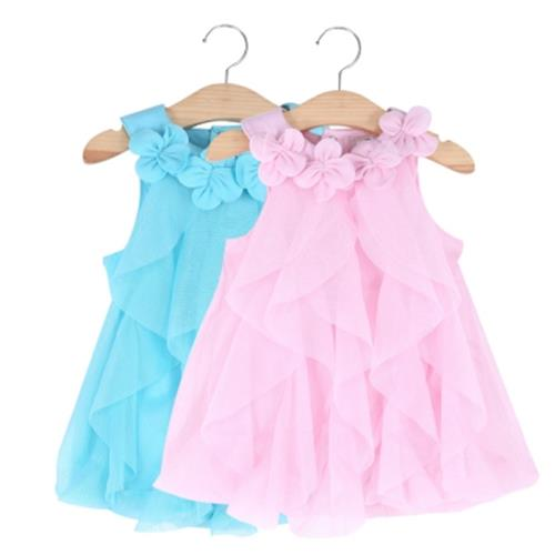 CUTE FLOWER TURN DOWN COLLAR SLEEVELESS MESH PURE COLOR BABY GIRLS DRESS (PINK