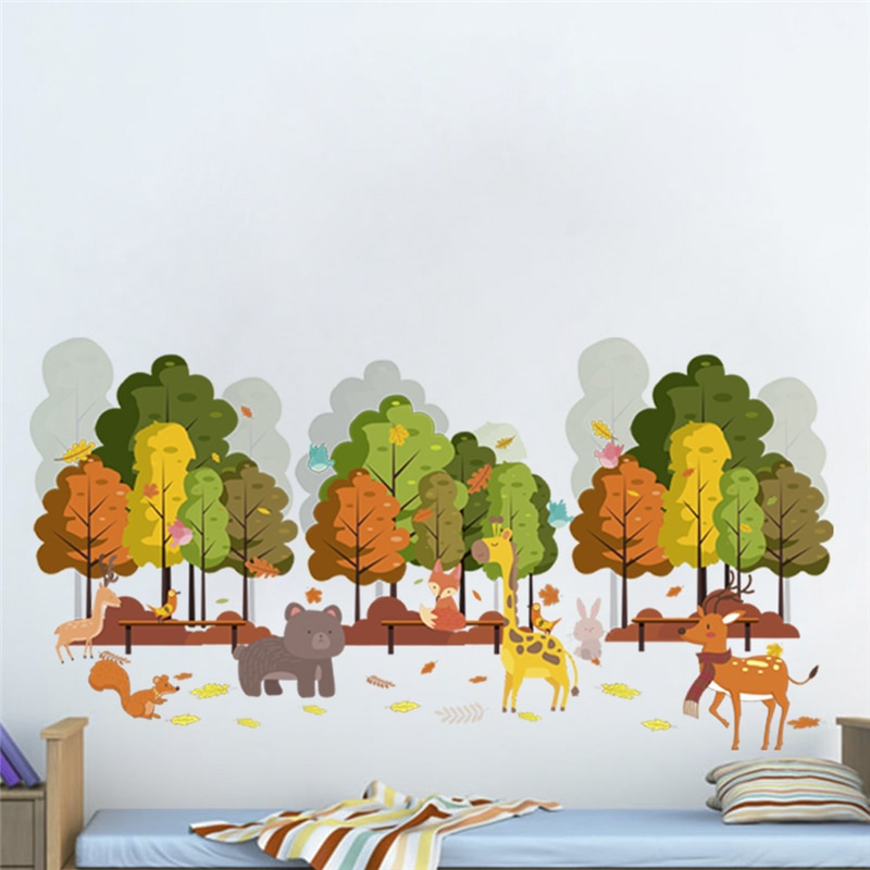 Cute Giraffe Rabbit Birds Tree Wall