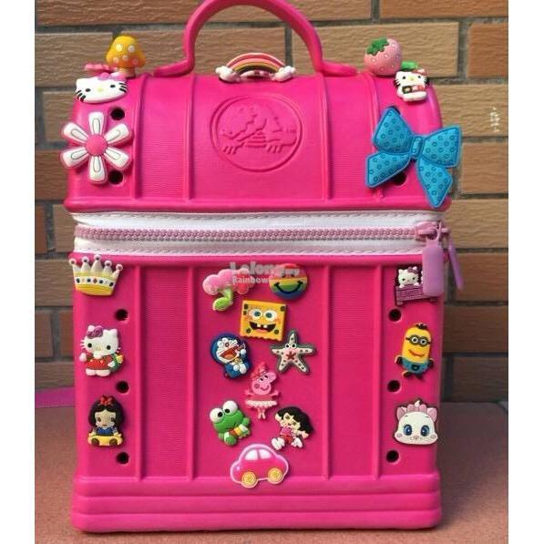 fee796b9fc2731 Cute Kids Crocs Backpack Activity Bag Xmas Gift DARk PINK GIRL