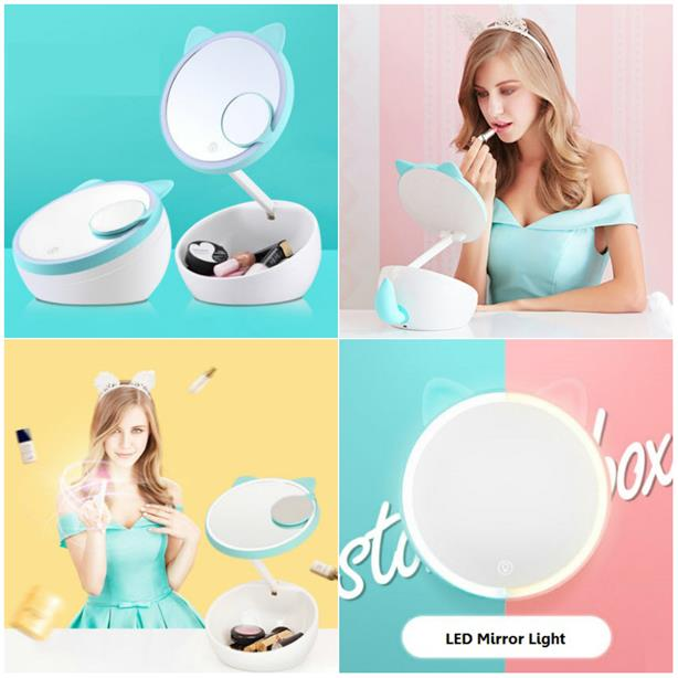 Cute Makeup Mirror LED Light Touch Screen Table Lamp Cosmetic Storage