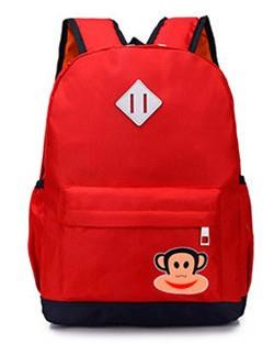 Cute Monkey Kids' Backpack (Red)