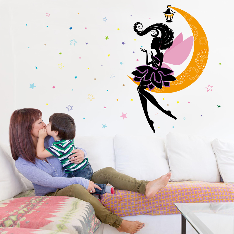 cute moon fairy wall stickers for gi (end 3/28/2019 6:39 am)