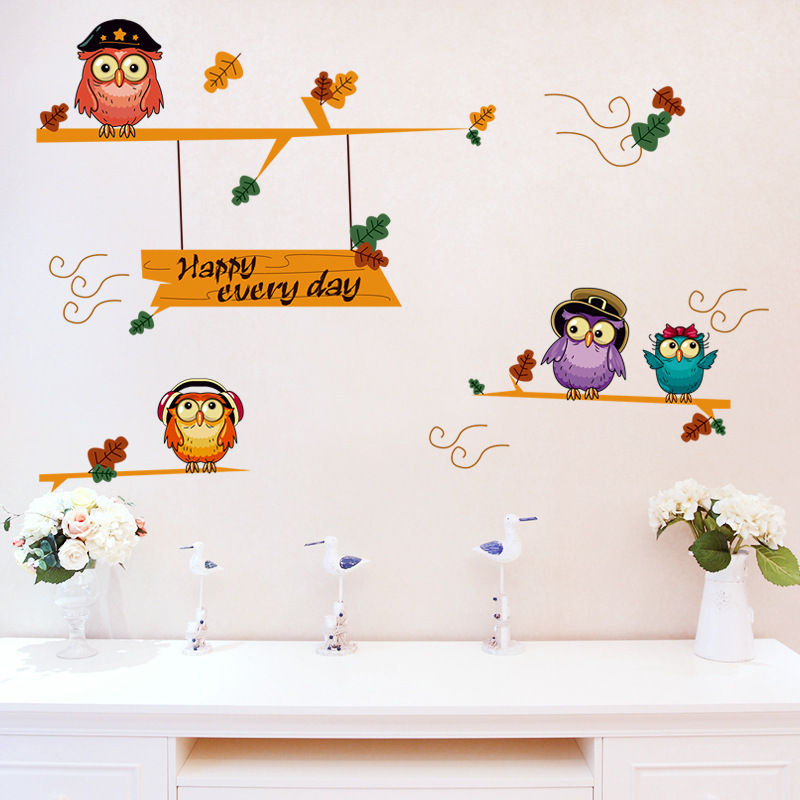 cute owl wall stickers for baby room (end 3/28/2019 6:39 am)