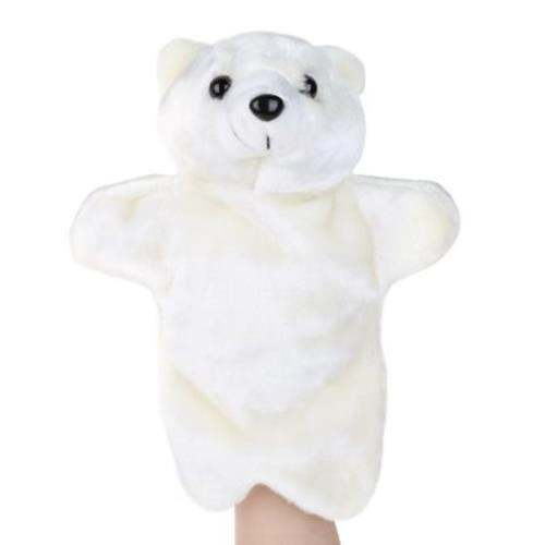 CUTE POLAR BEAR DESIGN FLUFFY PLUSH KIDS HAND PUPPETS TOY (WHITE)