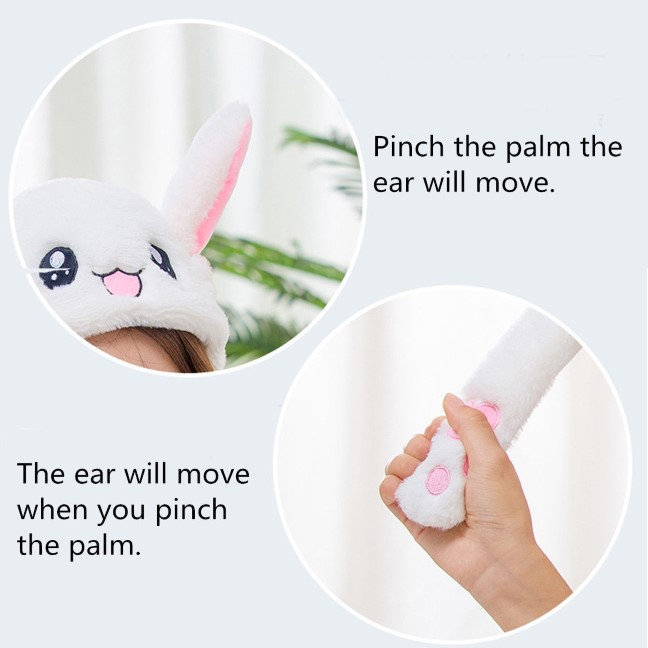 Cute Rabbit Hat Press Palm Ear Will Move Funny Plush Hat Toy Decor Air
