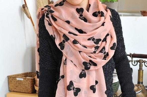 Cute Ribbon Pink Scarf
