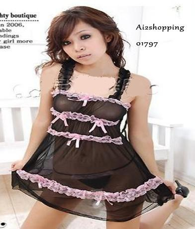 Cute sexy pajamas bow soft screen+ G-string01797