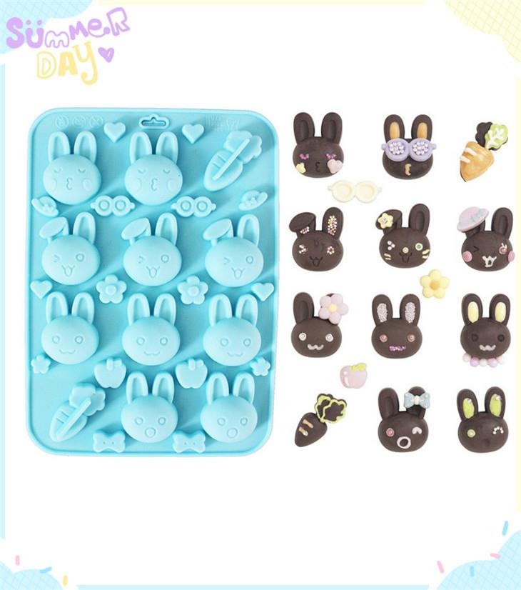 Cute Ten Rabbit Cake Chocolate Silicon Mould