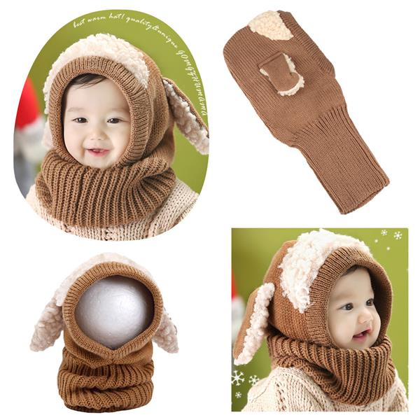 c76bc4afeec32 Cute Winter Kintted Hat Ear Puppy Caps Unisex Toddlers Babies Scarf Co. ‹ ›