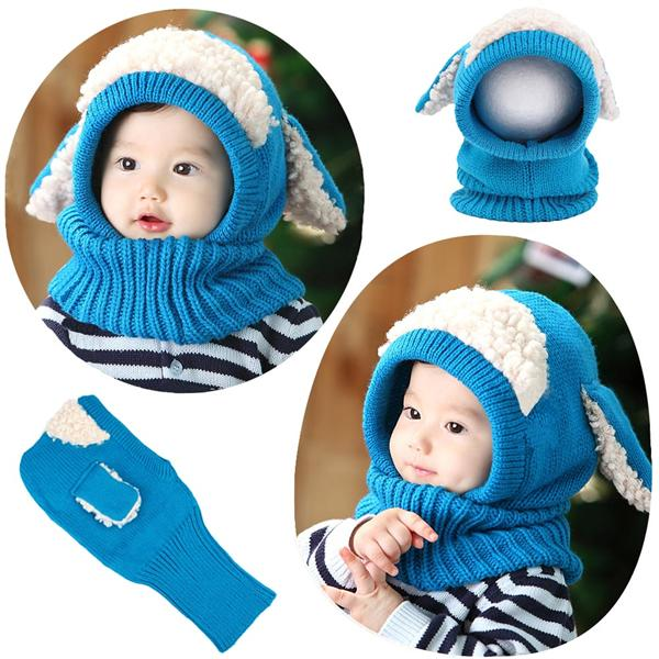 bb34ef307de Cute Winter Kintted Hat Ear Puppy Caps Unisex Toddlers Babies Scarf. ‹ ›