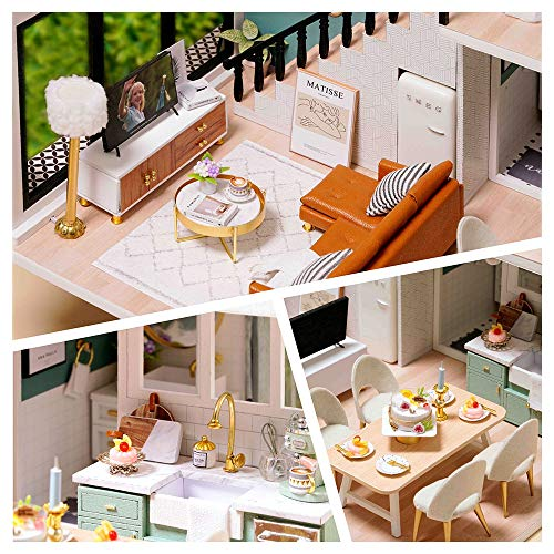 CUTEBEE Dollhouse Miniature with Furniture, DIY Wooden Dollhouse Kit Plus Dust