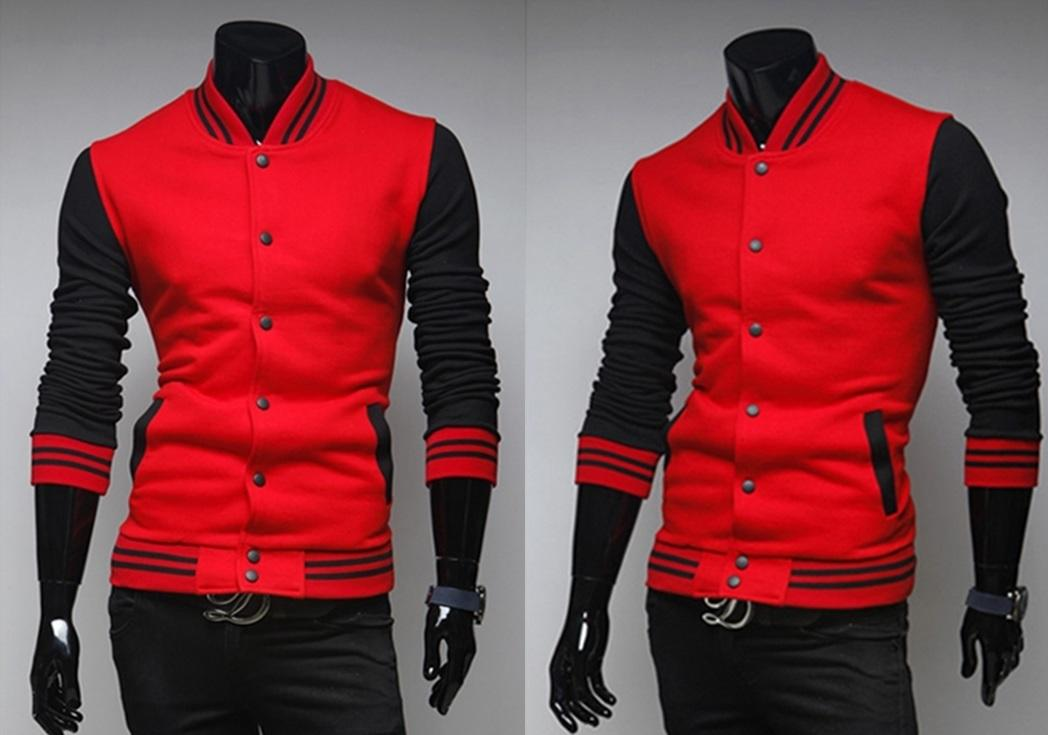 NEW!!! D.HOMME  KOREAN STYLISH COLOR-LAYERS BUTTONED BASEBALL JACKET
