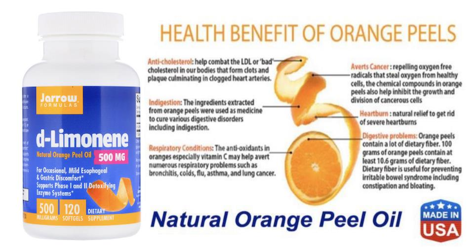 D-Limonene 500 mg, Natural Orange Peel Oil, reduce Cholesterol (USA)