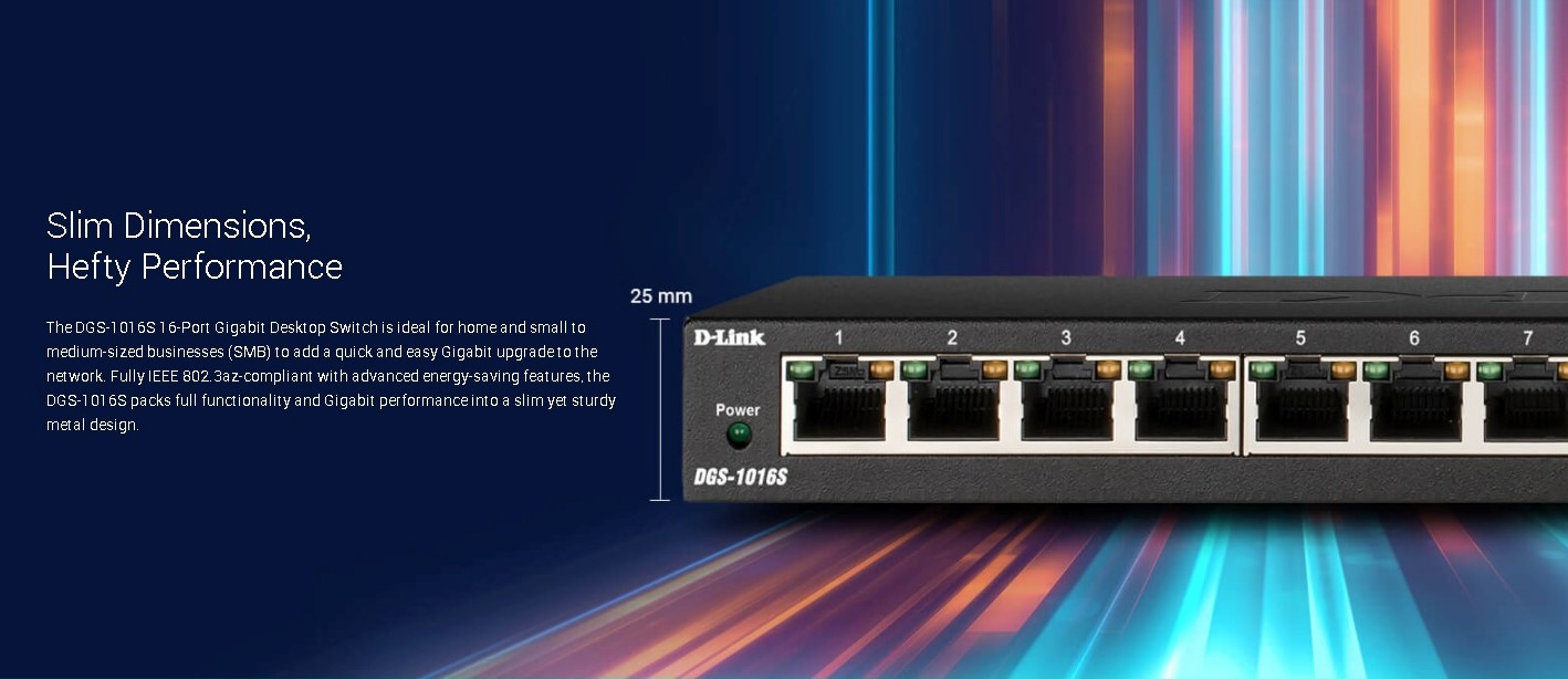 D-Link 16 Ports Slim Dimension Gigabit Desktop Switch (DGS-1016S)