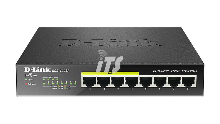 D-Link 8‑Port Gigabit PoE Unmanaged Desktop Switch (DGS-1008P)