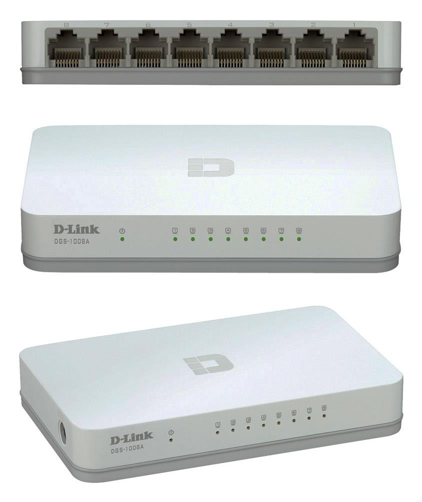 D-Link 8 Port 10/100/1000Mbps Gigabit Unmanaged Switch (DGS-1008A)