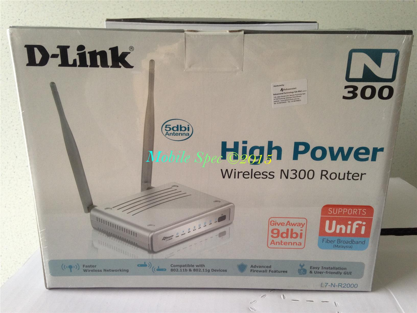 D-LINK D-L7-N-R2000 WiFi Wireless High Gain Router UniFi 9dBi Antenna