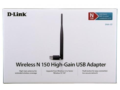 D-LINK DWA-127 150Mbps Wireless N WiFi High Gain USB Adapter Antenna
