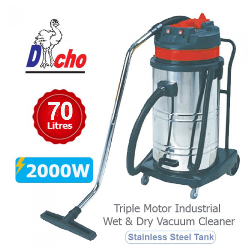 Dacho Double Motor Industrial Wet & Dry Vacuum Cleaner (2000W/70L)