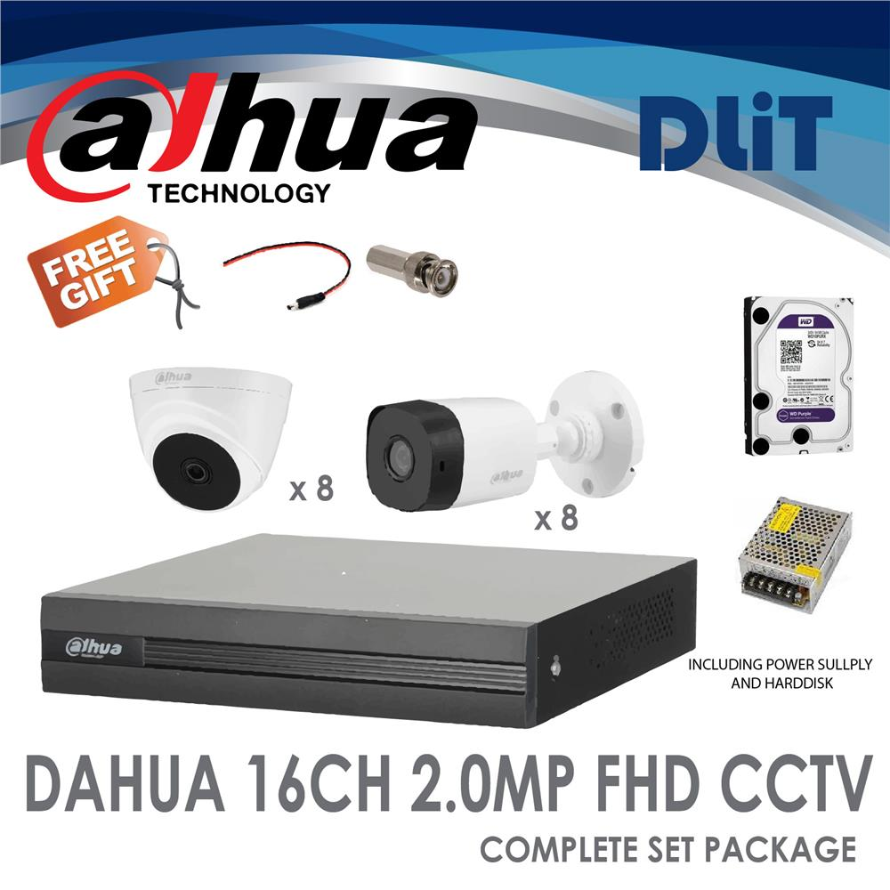 DaHua 16CH DVR 1080P Full HD CCTV 2MP Complete Set Package