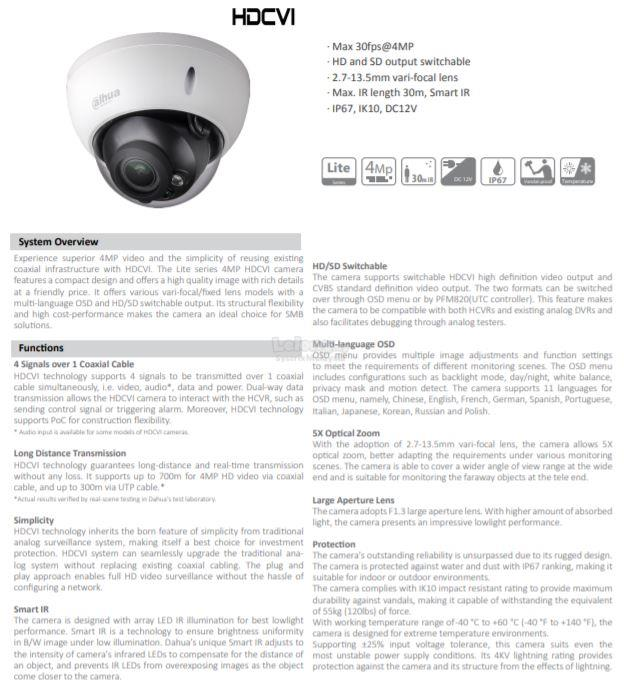 Dahua - 4MP IR Dome HD-CVI Varifocal Camera