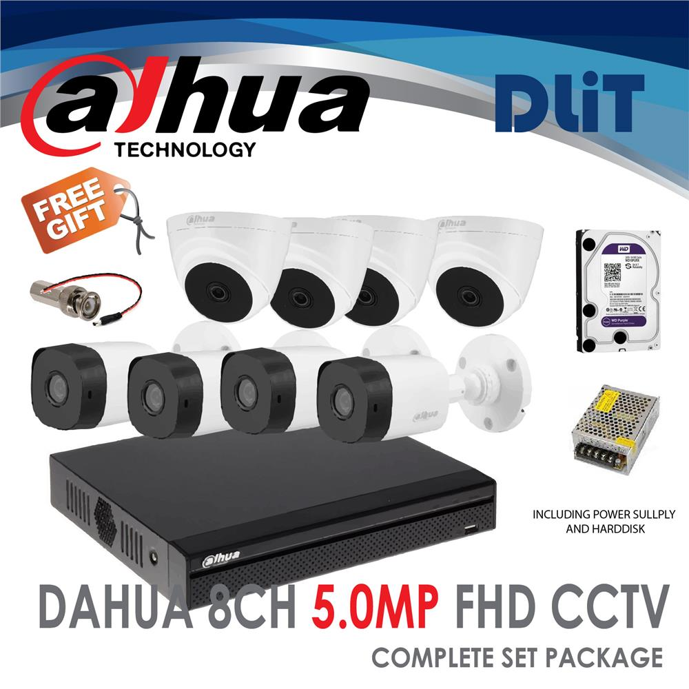 DaHua 8CH DVR 1080P Full HD CCTV 5MP Complete Set Package