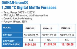 DAIHAN-brand® 1,200 °C Digital Muffle Furnaces