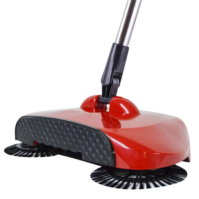 Daisu 3in1 Hand Propelled Sweeper 360° Rotation Broom Dustpan