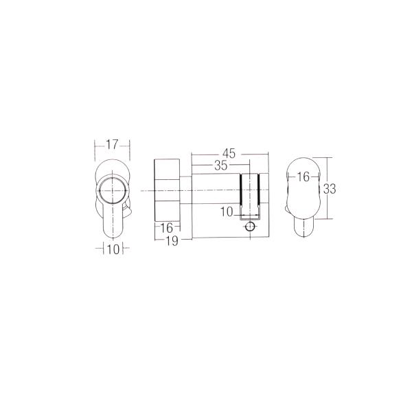 dal\u00ae 45-t profile cylinder lock 45mm (one sided thumbturn)