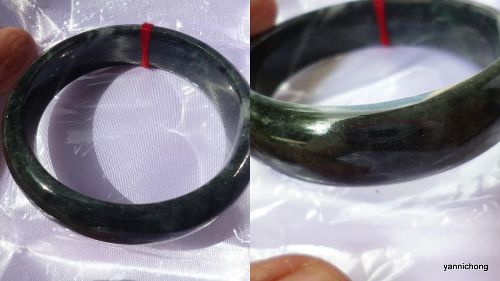 DARK GREEN BURMESE JADE BANGLE