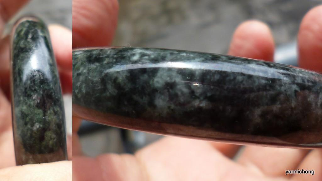 OLD  MINE DARK GREEN JADE BANGLE