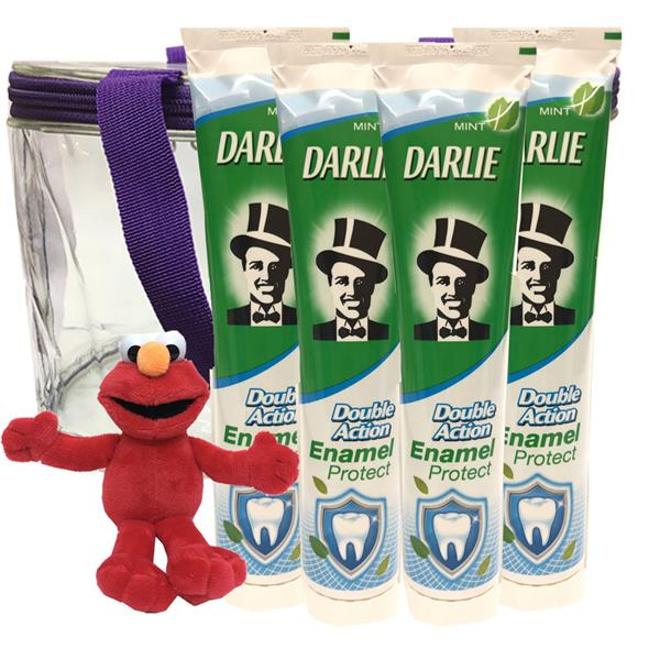 Darlie Double Action Enamel Protect 4X225g FREE 1 Toy + Bag