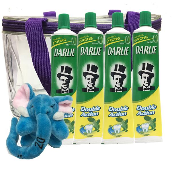 Darlie Double Action Toothpast 225g X 4tubes  + Free 1 Toy + Bag