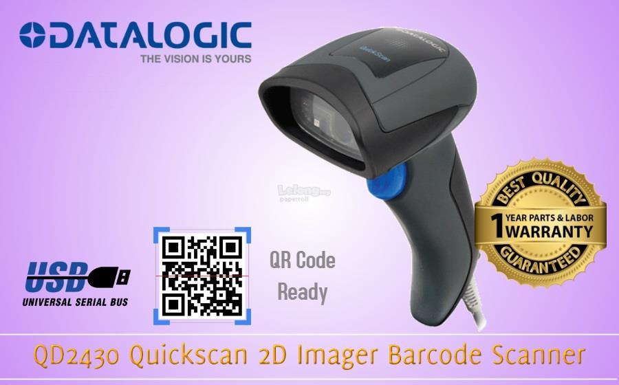 Datalogic QD2430 Quickscan 2D Imager Barcode Scanner Black With Stand