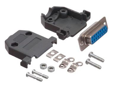 DB15 Female Solder Connector Kit Plastic Hood Cover