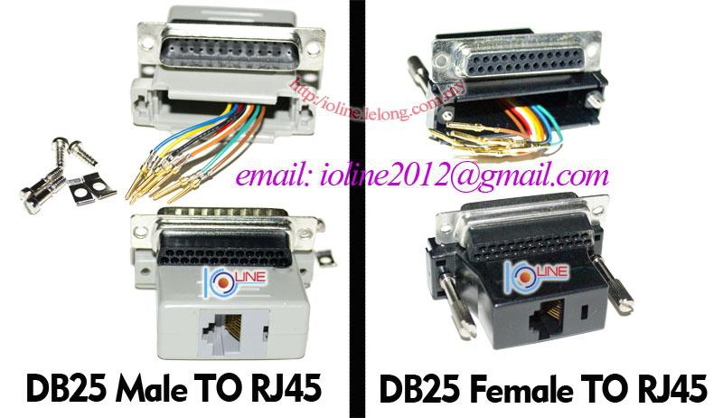 DB25 Female to RJ45 DIY by UTP cable Serial RS232 Parallel Taiwan