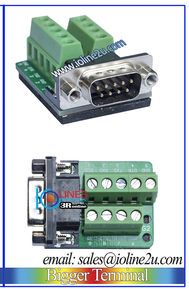 DB9 male Screw Terminal No soldering required DIY RS232 RS485 R &D