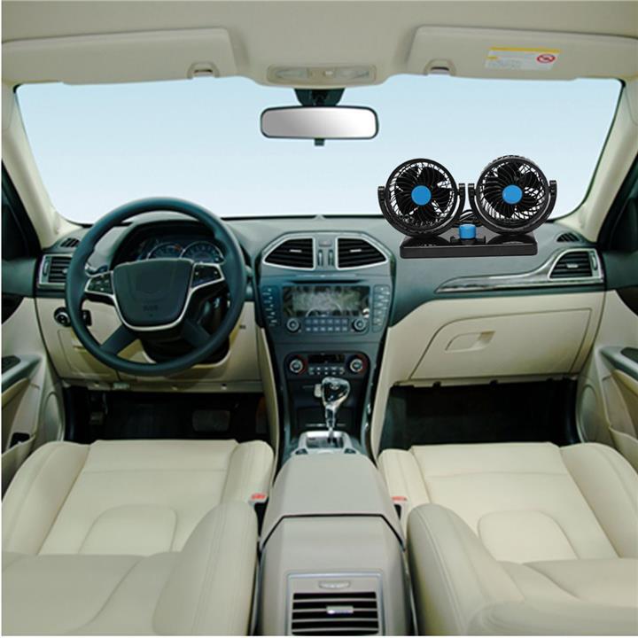 DC 12V Mini Car Dual Air Fan Vent 360° Rotation Automotive Cooling Tru