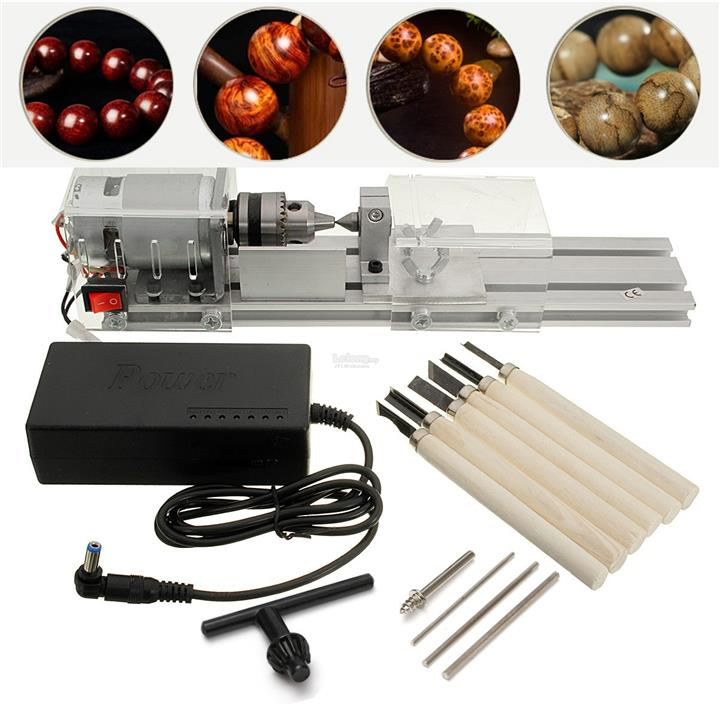 DC 24V 96W Mini Lathe Beads Saw Machine Set Woodworking DIY Beads Poli