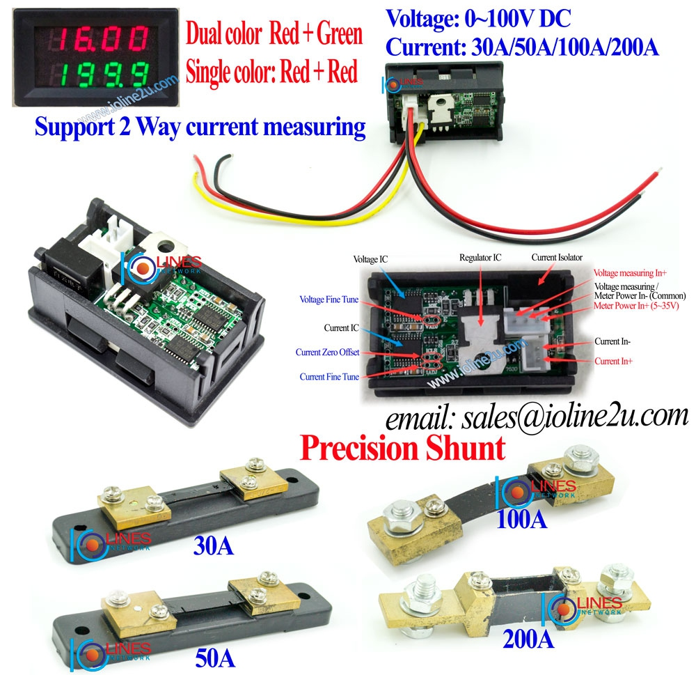 DC voltage+Isolated Current meter 100V Voltmeter 30A/50A/100A/200A ammeter Hig