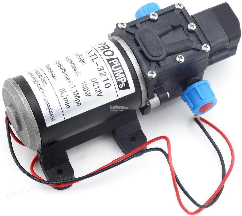 DC12V 100W 8L/M High Pressure Micro Diaphragm Water Pump Self Priming