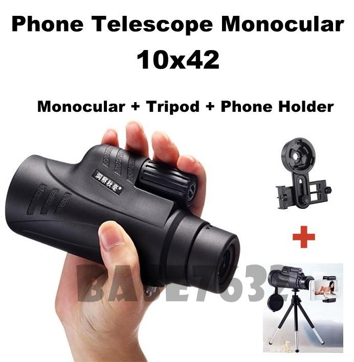 DCQH 10x42 Phone Camera Lens Telescope Monocular Holder+Tripod