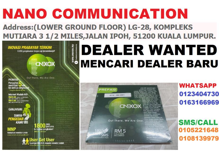 DEALER WANTED PREPAID ONEXOX ONE XOX INCENTIVE 10% JANA PENDAPATAN