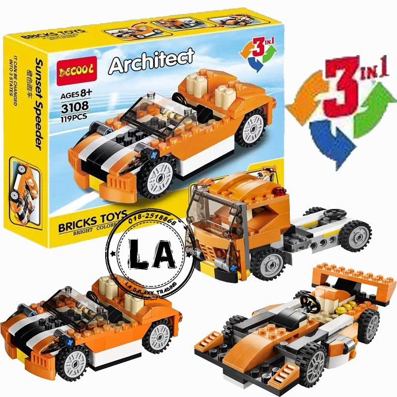 Decool 3108 - Architect 3 in 1 Car building block (119pcs)