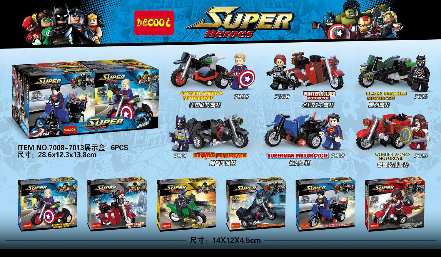 DECOOL 7008-7013 - Superheroes Motorcycle - 100% Lego Compatible