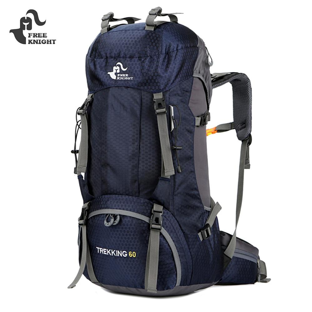 DEEP BLUE FREEKNIGHT FK0395 60L Climbing Backpack with Rain Cover