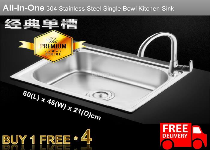 Merveilleux [Defect] 6045A 304 Stainless Steel Sink * FREE FAUCET COST RM200. U2039 U203a